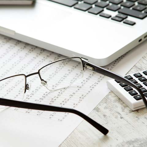 Laptop, eyeglasses and spreadsheets - LG