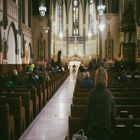 Church people praying