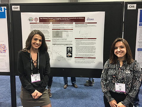 Melissa Arfuso and Teona Iarajuli presenting research at the annual meeting of the Society for Neuroscience in Washington DC.